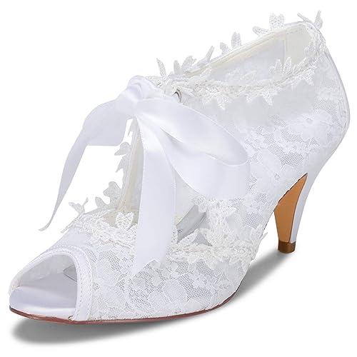 JIAJIA JIA JIA Zapatos de Novia de Las Mujeres 5949419 Peep Toe Cono Talón  Encaje Satinado Bombas Corbata Zapatos de Boda  Amazon.es  Zapatos y  complementos 126b4ca5fa4