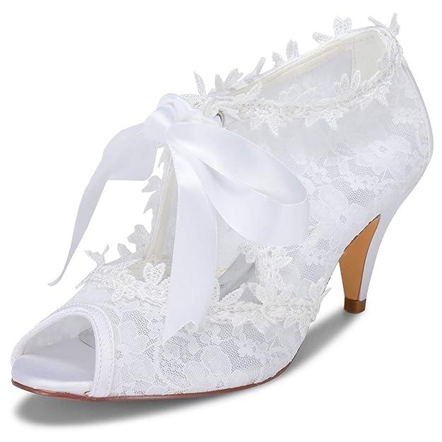 JIAJIA Women's Bridal Shoes 5949419 Peep Toe Cone Heel Lace Satin Pumps Ribbon Tie Wedding Shoes