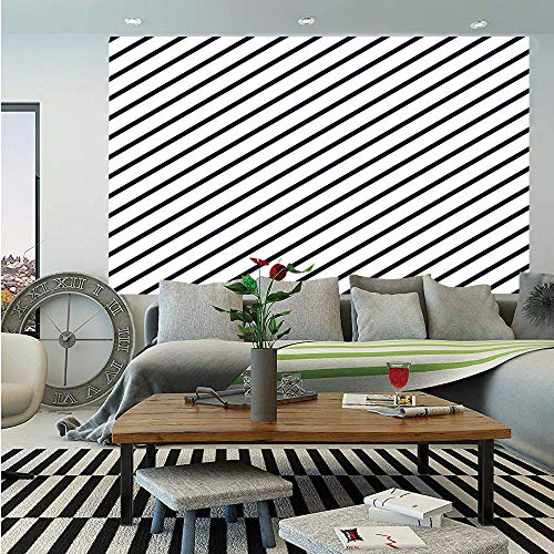 Geometric Huge Photo Wall Mural,Diagonal Stripes Monochrome Pattern Classical Old Fashioned Pattern Design Decorative,Self-adhesive Large Wallpaper for Home Decor 108x152 inches,Dark Blue White