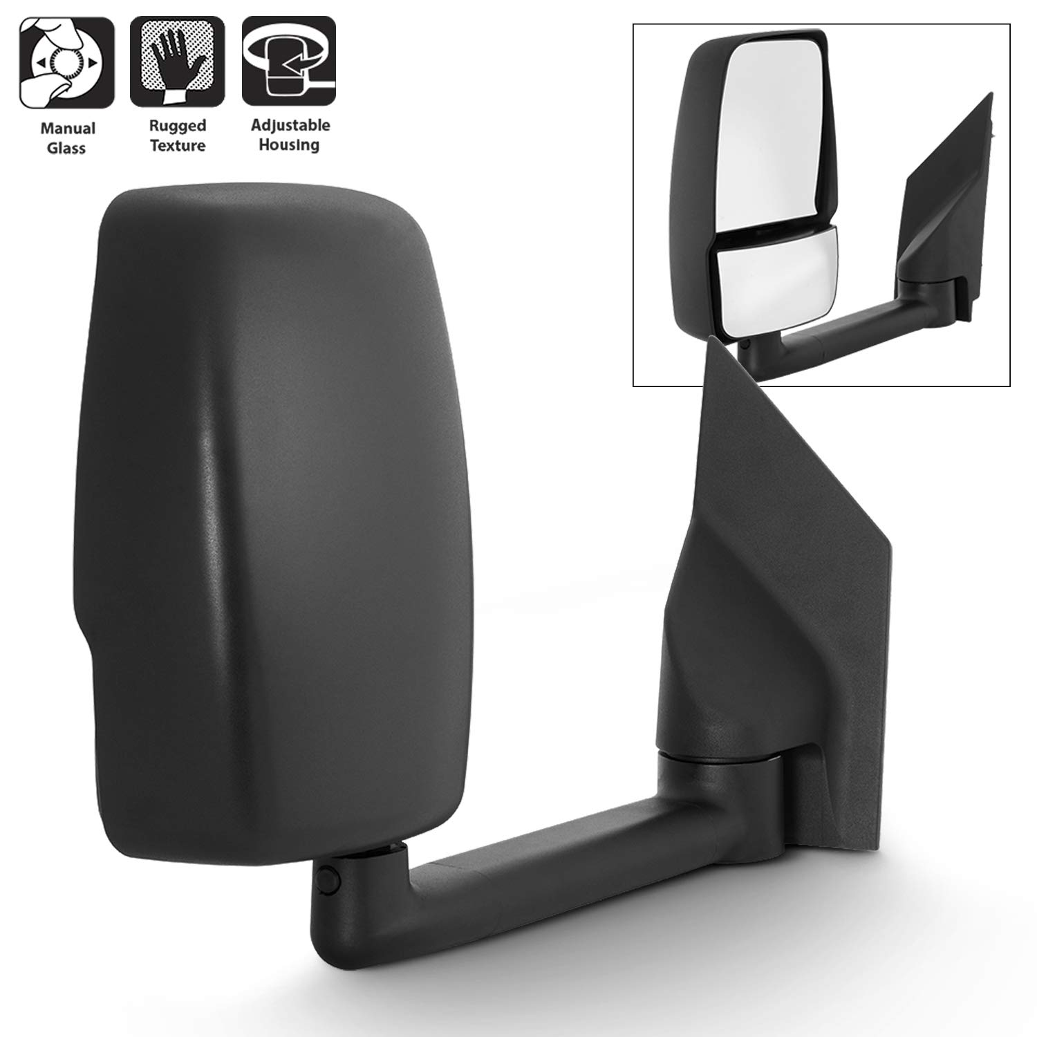 For 2003-17 Chevy Express 1500//2500//3500 GMC Savana 1500//2500//3500 Manual Towing Passenger Side Only Mirror Assembly