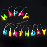 "BRIGHT ZEAL Multicolor Letter ""HAPPY BIRTHDAY"" LED String Lights (1.2"" Letter Size, 5.5' Long, Battery Included) - LED Letters Lights for Birthday Decorations - Home Decor Birthday Party Supplies"