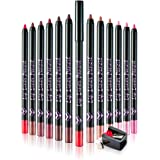 Frcolor 12pcs Waterproof Matte Lip Liner Pencil Fine Lip Contour Shaping Lipstick Colors Matte Set