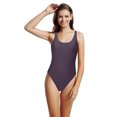 zeraca Women's Thick Straps Pro Athletic Racerback One Piece Swimsuit Bathing Suit (Rich Grape, M10): Clothing
