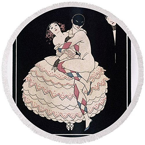 Commedia Dellarte Lovers Costumes (Pixels Round Beach Towel With Tassels featuring