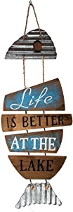 Cabin & Home Lake House Decor Fish Wall Sign, Wood and Tin (Life is Better at The Lake)