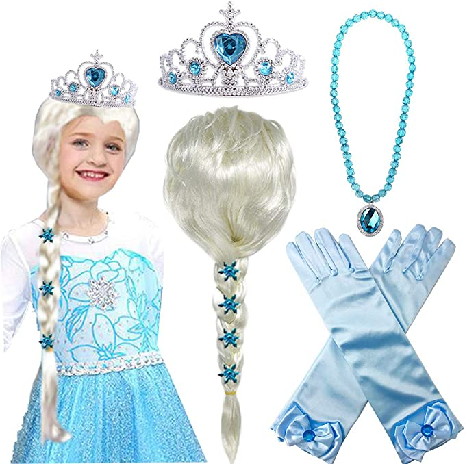 Princess Elsa Wig Frozen Elsa Braid with Princess Tiara Necklace Gloves Princess Elsa Dress Up Costume Cosplay Accessories for Kids Girls