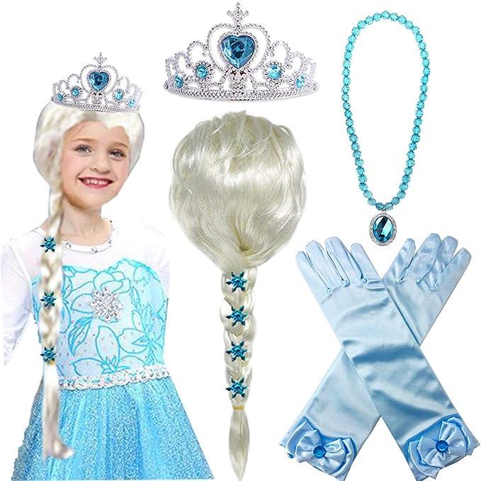 Amazon.com: Princesa Elsa Peluca Frozen Elsa Trenzado con ...