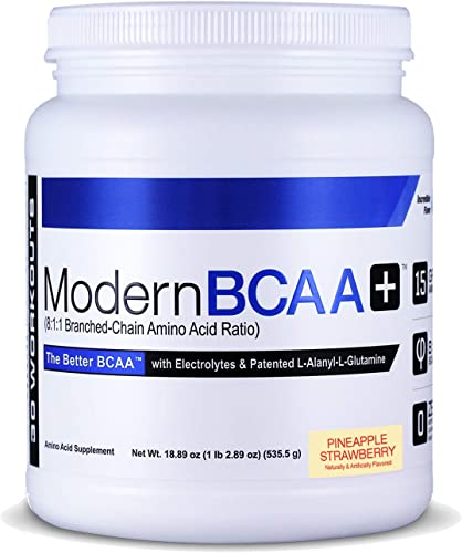 Modern BCAA Essential Amino Acid EAA Branched Chain Amino Acid BCAA Muscle Recovery Supplement Powder Drink Mix – 30 Servings Pineapple Strawberry