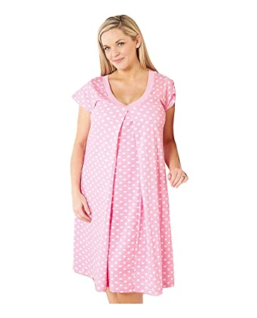 5667991046930 Amazon.com : 100% Cotton Maternity Nursing Nightgown Pregnancy (Before and  After) : Breastfeeding Gown, Labor Gown (Large, Pink Polka Dot) : Baby