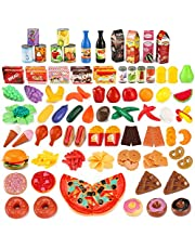 JamBer Kitchen Toy set, 139 Pcs Plastic Food Fruit Vegetable Levels Educational Learning Kitchen Set Play kids Role Play Toy Food