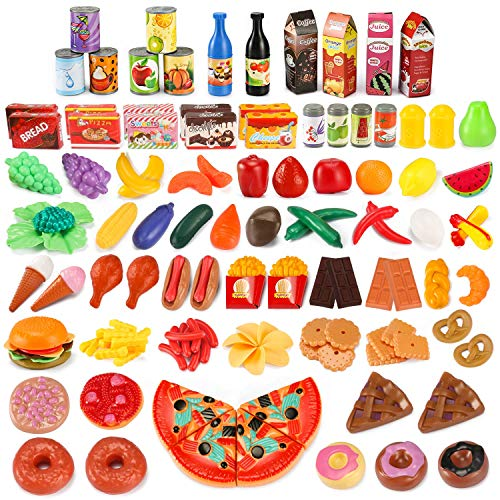 Fake Plastic Food (UNEEDE 139pcs Play Food Set Kids Play Kitchen Food Toy Pretend Toddler Kid Play Food Large Fake Plastic Food Toy Set Toy Kitchen Food Outdoor Plat Fast Food Item Accessories Safe for Kid, Toddler)