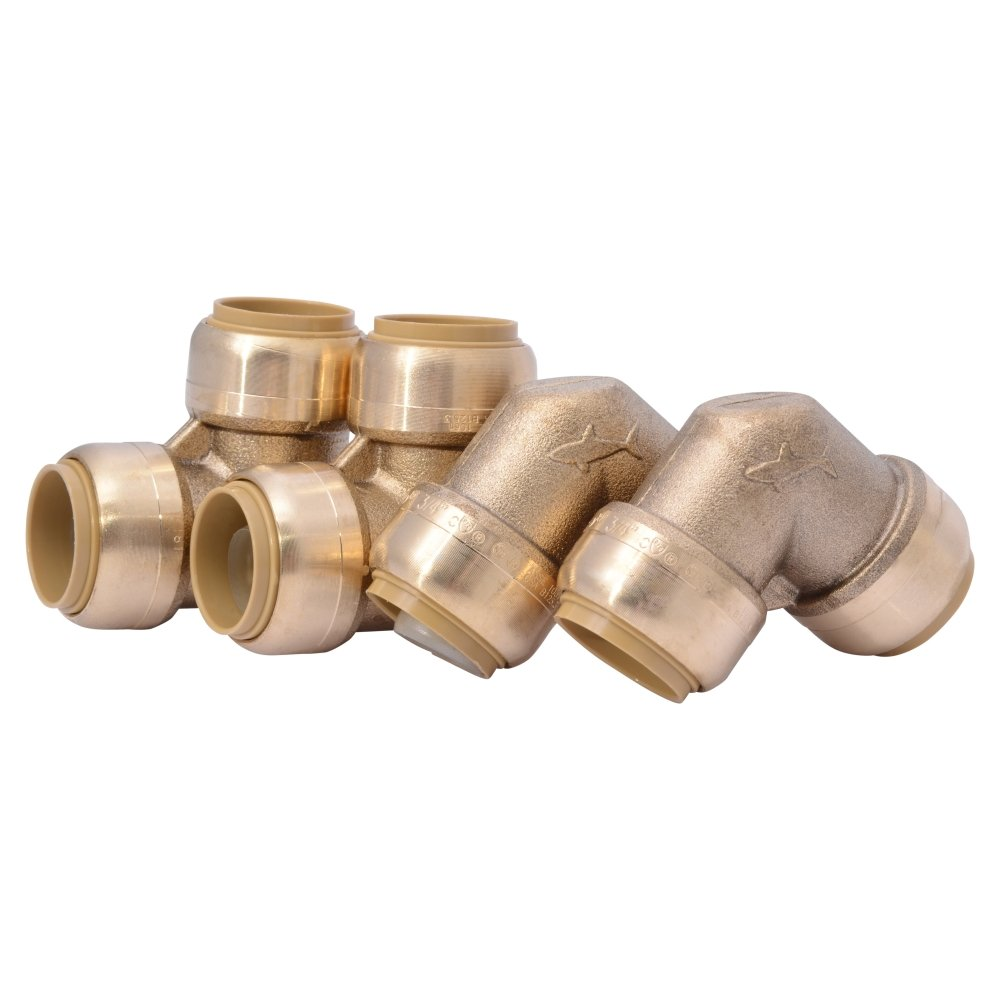 SharkBite U256LFA4 90 Degree Elbow Plumbing Fitting Pipe Connector, 3/4 Inch, PEX Fittings, Push-to-Connect, Copper, CPVC, Pack of 4