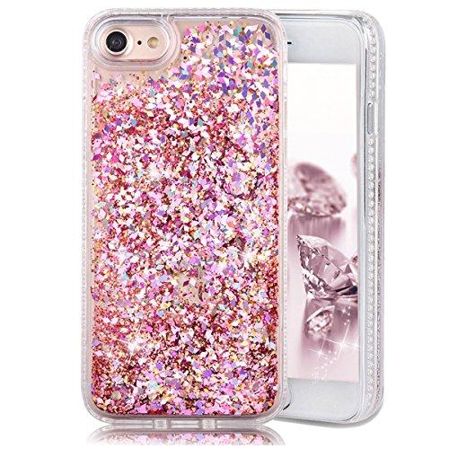 iPhone 7 Case,Crazy Panda iPhone 7 Soft Bumper Case 3D Creative Liquid dynamic Glitter Moving Case Luxury Bling Diamond Shape Quicksands Sparkle Glitter Case for iPhone 7 - Pink Diamond Crazy Panda
