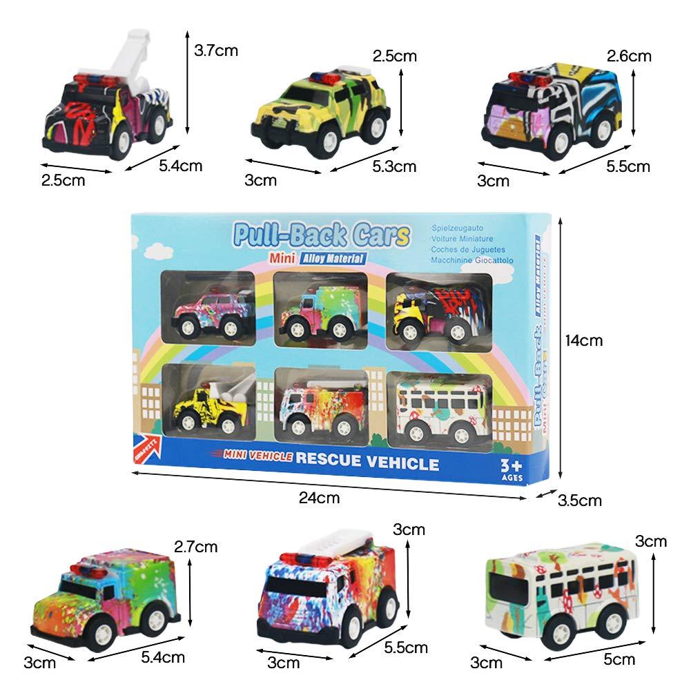 Nuheby Jouet Voiture Bebe Miniature Petites Mini Voiture Enfant Graffiti Pull Back Lot Jeux Vehicule Enfant 3 4 5 Ans Fille Garcon Couleur al/éatoire