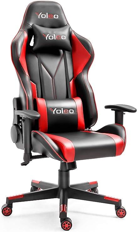 Yoleo ゲーミングチェア オフィスチェア ゲーム用チェア ミーティングチェア リクライニング 高さ調整できる 多機能 デスクチェア ハイバック ヘッドレスト 腰痛対策 ランバーサポート ひじ掛け付き ゲーミングチェア レッド