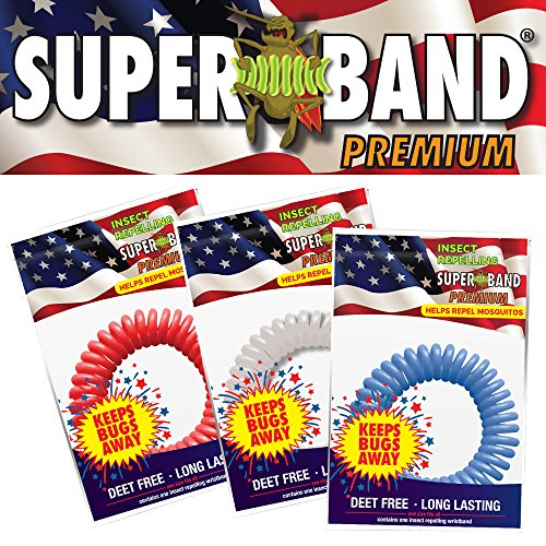 PATRIOTIC SUPERBAND PREMIUMS - All Natural Mosquito Repellent Bracelets - Perfect for 4th of July! - No Messy Lotions or Sprays - Fast & Easy! 30 Day Money Back Guarantee (10 Pack)