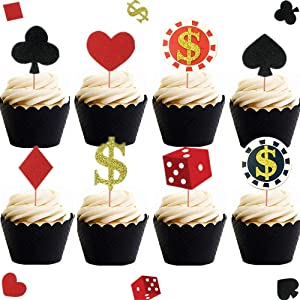 LaVenty Set of 32 Casino Cupcake toppers Poker Cupcake Toppers Vegas Theme Cupcake Toppers Gambling Cupcake Toppers Casino party decorations Vegas theme party Gambling party decorations Poker night decorations