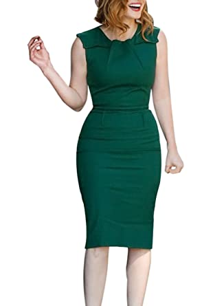 VfEmage Womens Elegant Vintage Ruched Wear to Work Business Casual Pencil  Dress 9316 GRN 16 at Amazon Women s Clothing store  1769d206d