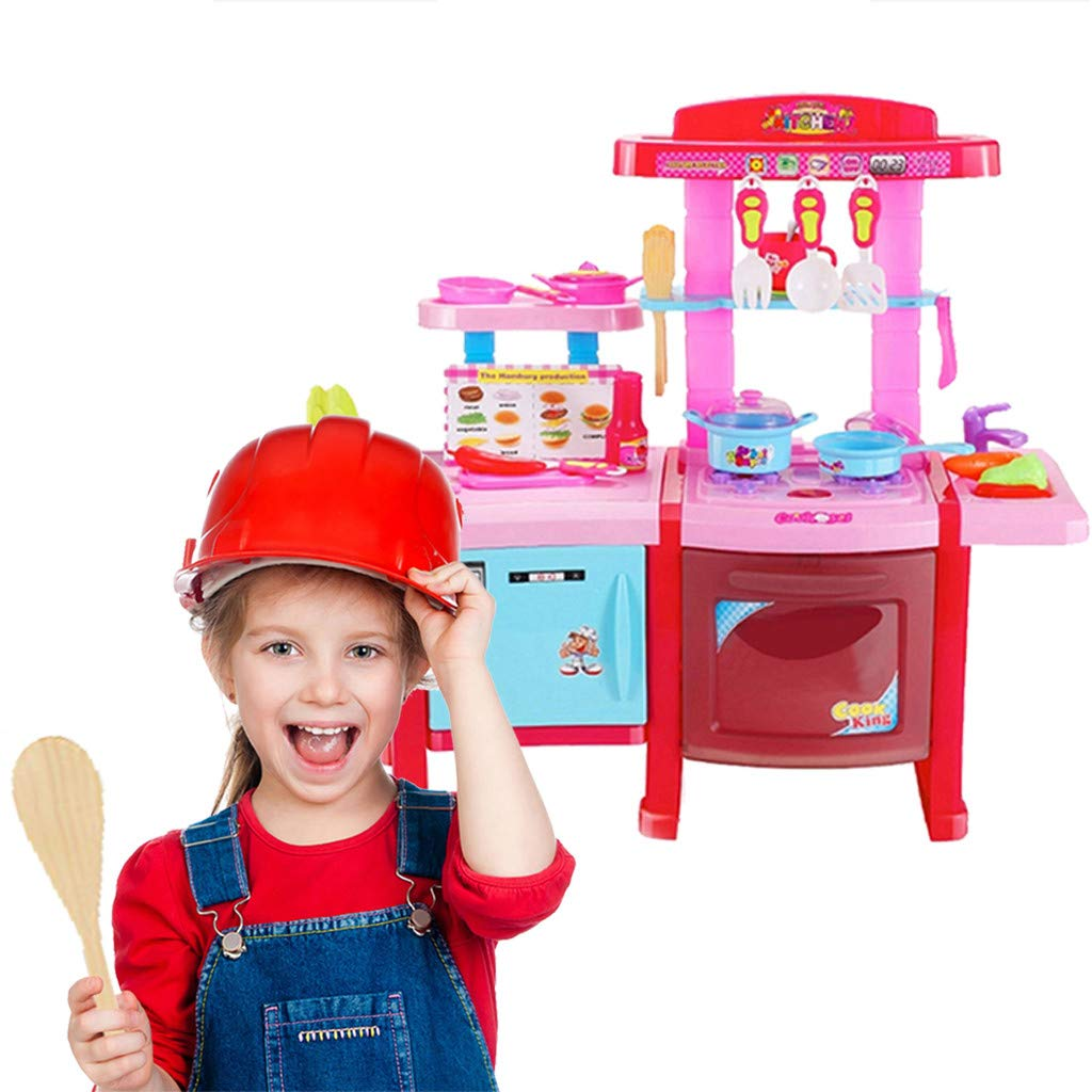 Kids Pretend Play Kitchen, Food Playset Kitchen Cooking Sets Toys for Educational Learning (Pink)