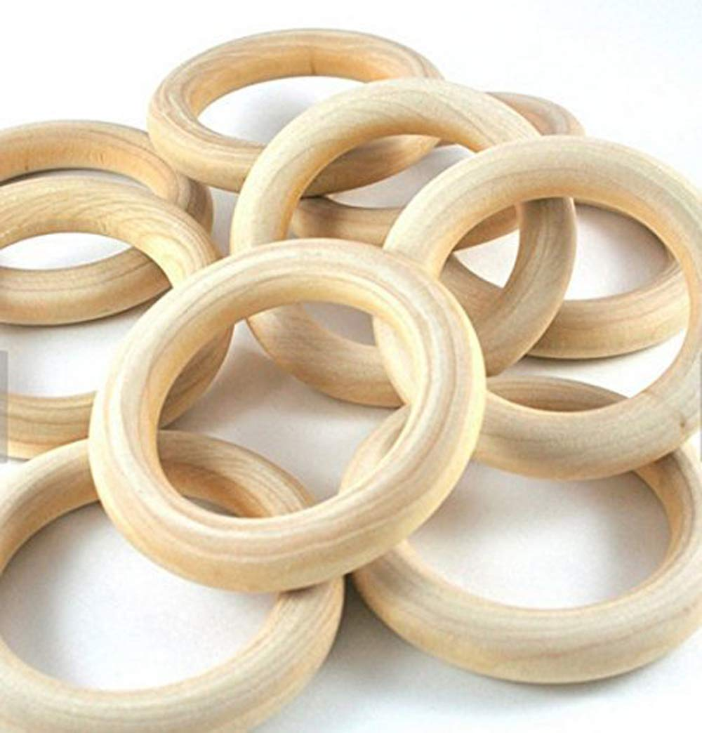 """PEPPERLONELY Brand, 20 Natural Wood Rings 2-2/8"""" (56mm)"""