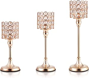 DUOBEIER Home Decorations Gold Crystal Cylinder Candle Holders Set of 3,Pillar Candlestick Holders for Living Room Wedding Dining Table Centerpieces Fireplace Decor