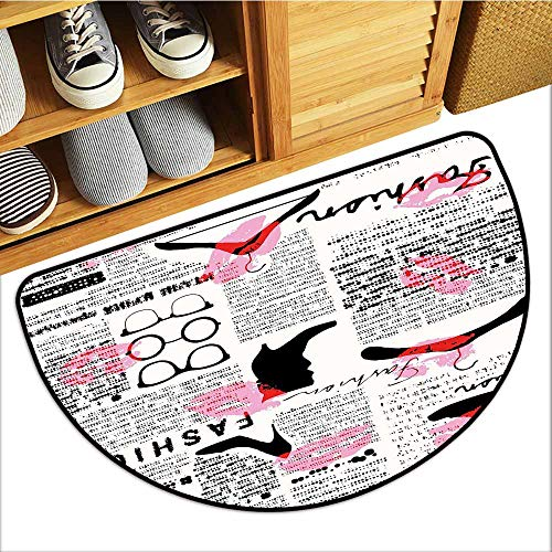 (All-Natural Rubber Doormats, Old Newspaper Decor Doormats for High Traffic Areas, Fashion Elements Kisses Lipstick Glasses Shoes Hangers (Scarlet Baby Pink Black, H20 x D32 Semicircle))