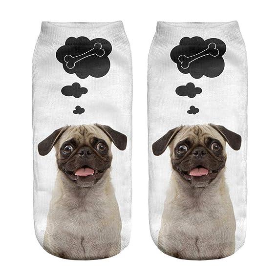 Kinlene Calcetines cortos unisex divertidos populares 3D Perro Impreso tobilleras Calcetines Calcetines casuales: Amazon.es: Ropa y accesorios