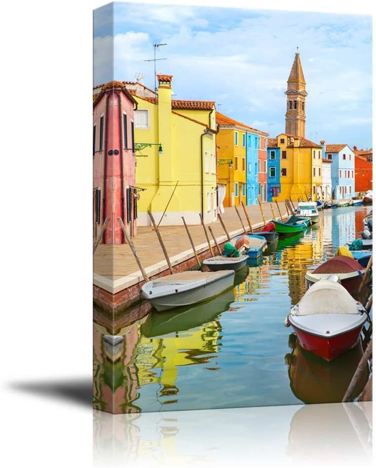 Amazon Com Wall26 Canvas Prints Wall Art Color Houses With Boats On Burano Island Near Venice Italy Modern Wall Decor Home Decoration Stretched Gallery Canvas Wrap Giclee Print Ready To Hang