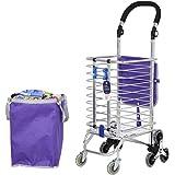 WYFC Carro de la compra plegable. Escalera de escalada Tienda de comestibles de lavandería Carro utilitario con ocho ruedas Marco de acero inoxidable Carrito de compras