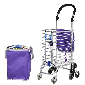 Escalera de escalada Tienda de comestibles de lavandería Carro utilitario con ocho ruedas Marco de acero inoxidable Carrito de compras: Amazon.es: Hogar