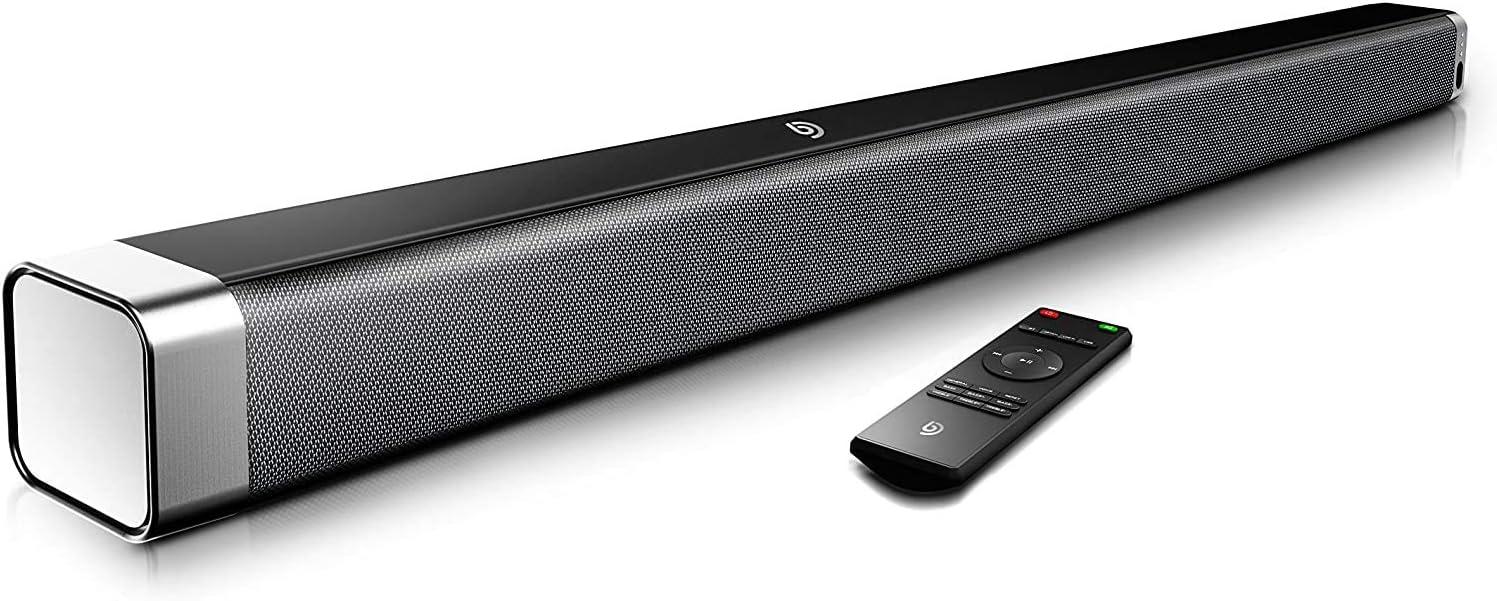 Bomaker Soundbar 2 0 Kanal 120 Db 37 Zoll Lautsprecher Bluetooth 5 0 Mit Eingebaute Bass Dsp Für Tv Mit Aux Usb Optischer Anschluss Heimkino Party Schwarz Audio Hifi