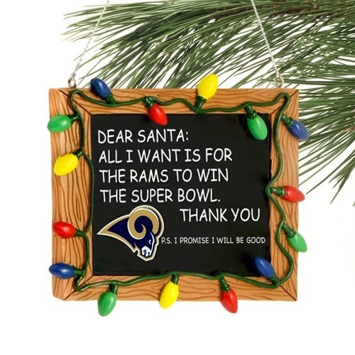 NFL Football Resin Chalkboard Sign Holiday Christmas Ornament - Pick Team (St Louis Rams)