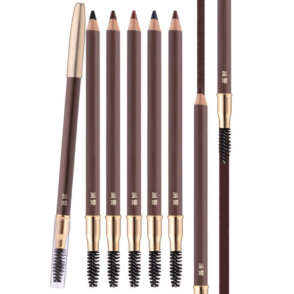 Scala 1 pcs Makeup Eyebrow Enhancer 12H Long Lasting Sweat &Waterproof Eyebrow Pencil Pen 5 Colors Dark Brown Eye Brow Pencil (5# Brown)