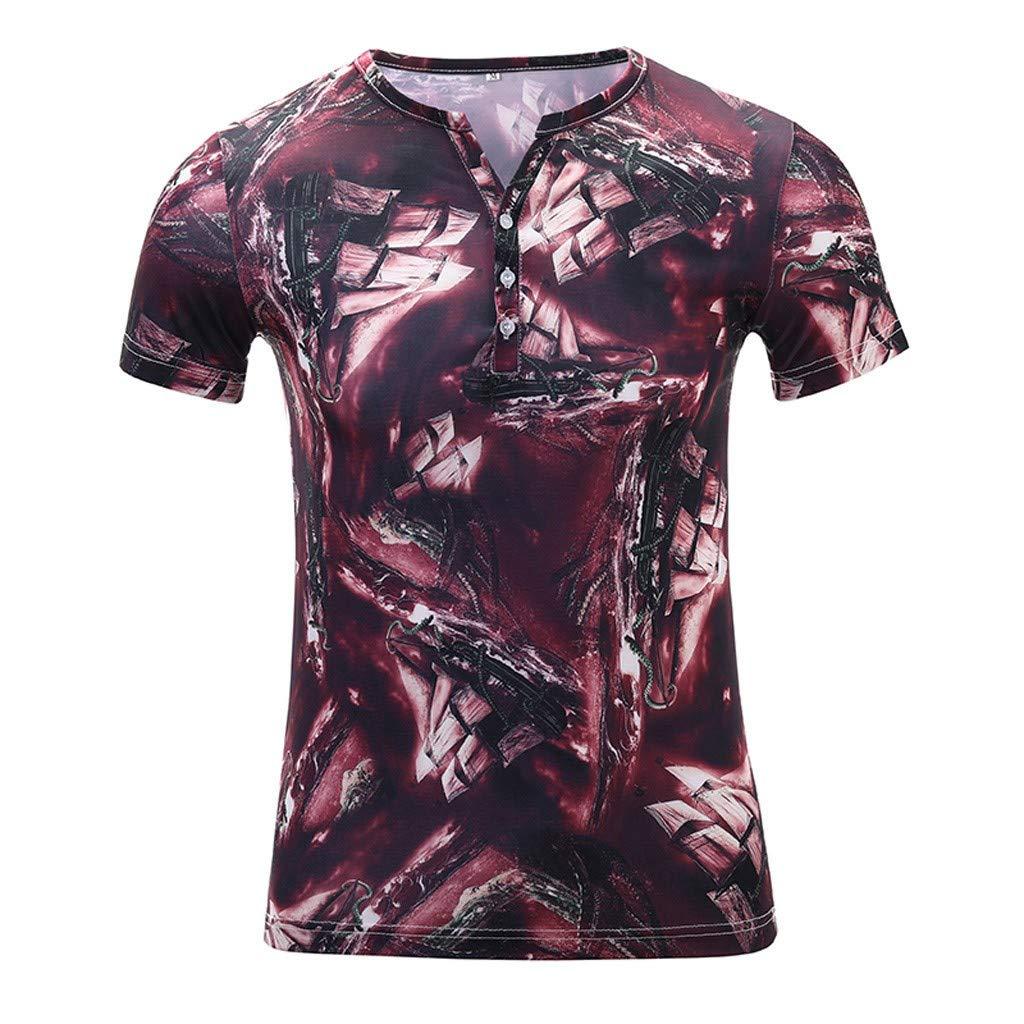 Men's Cotton Button Down Short Sleeve Hawaiian Shirt Red by Donci T Shirt