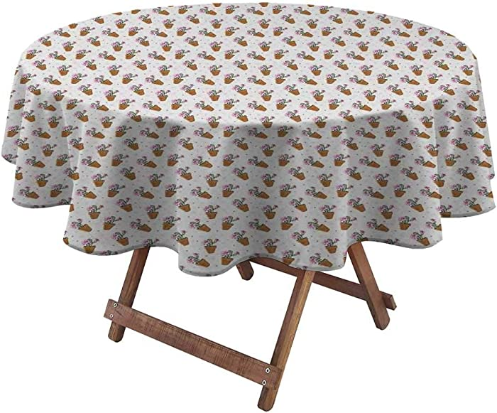 Tablecloth Exotic Cactus Plants with Pink Blossoms and Little Dots in Flower Pots Solid Tablecloth Heavy Duty Fabric for Small Country Barn Wedding Green Pink Pale Brown (Diameter50 Inch)