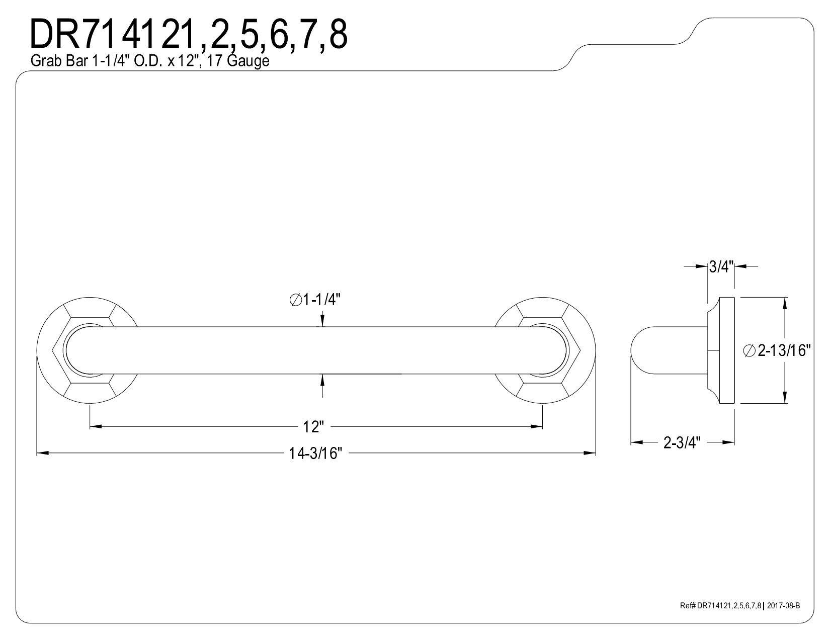 Kingston Brass DR714125 Designer Trimscape Metropolitan Decor 12-Inch Grab Bar with 1.25-Inch Outer Diameter, Oil Rubbed Bronze