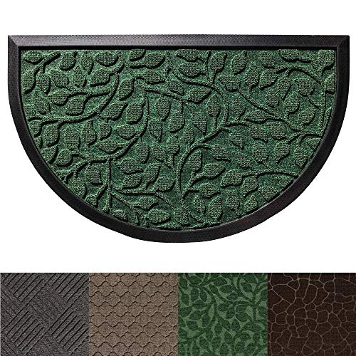Gorilla Grip Original Durable Rubber Door Mat, Heavy Duty Doormat for Indoor Outdoor (29x17 Small Half Circle) Waterproof, Easy Clean, Low-Profile Rug Mats for Entry Patio High Traffic (Green Leaves)