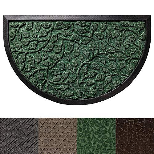 - Gorilla Grip Original Durable Rubber Door Mat, Heavy Duty Doormat for Indoor Outdoor (29x17 Small Half Circle) Waterproof, Easy Clean, Low-Profile Rug Mats for Entry Patio High Traffic (Green Leaves)