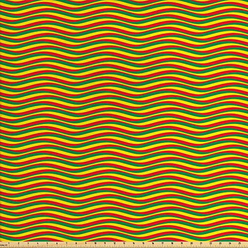 Marigold Stripe - Ambesonne Rasta Fabric by The Yard, Vivid Colors Ethiopian African Flag Colors in Wavy Style Stripes Image, Decorative Fabric for Upholstery and Home Accents, 2 Yards, Marigold Green and Red