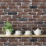 Bricks Deep Dark Brown' Peel and Stick Wallpaper (Self Adhesive, 40 cm x 1016 cm) By FOA