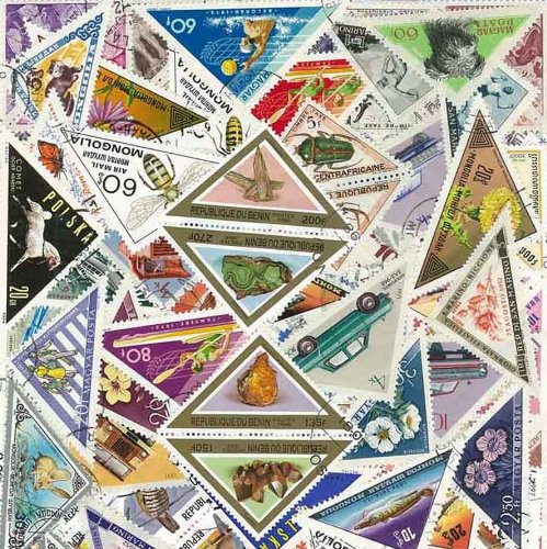 PHILATEMA Collection of Stamps obliterador, Pack of 25, Designs Triangle