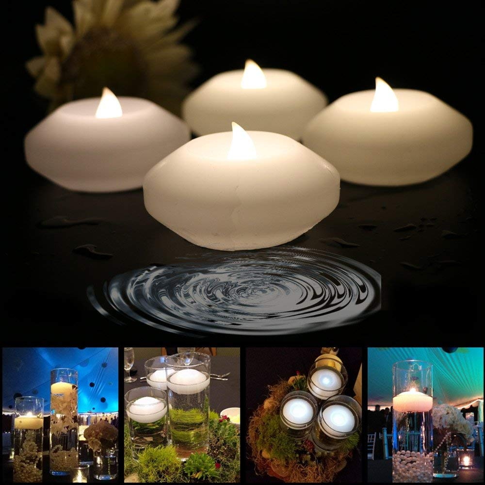 Pack of 4 ARDUX LED Floating Candles 3-inch Wax Waterproof Candle Tealight Night Light Flameless Candle with Battery-powered for Wedding Party Decoration