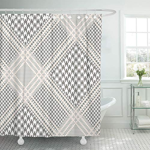 Emvency Shower Curtains 66 x 72 Inches Glen Plaid in Taupe and White with Beige Overcheck Classic Prince of Wales Waterproof Polyester Fabric Decor Bathroom Odorless Eco Friendly Set with Hooks -