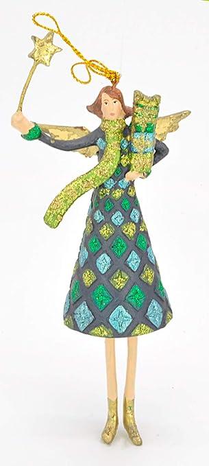 ecosoul Engel Instrument Musik Weihnachten Baumschmuck Figur Deko H/änger Christbaumschmuck 15 cm mit Geschenken blau-gr/ün