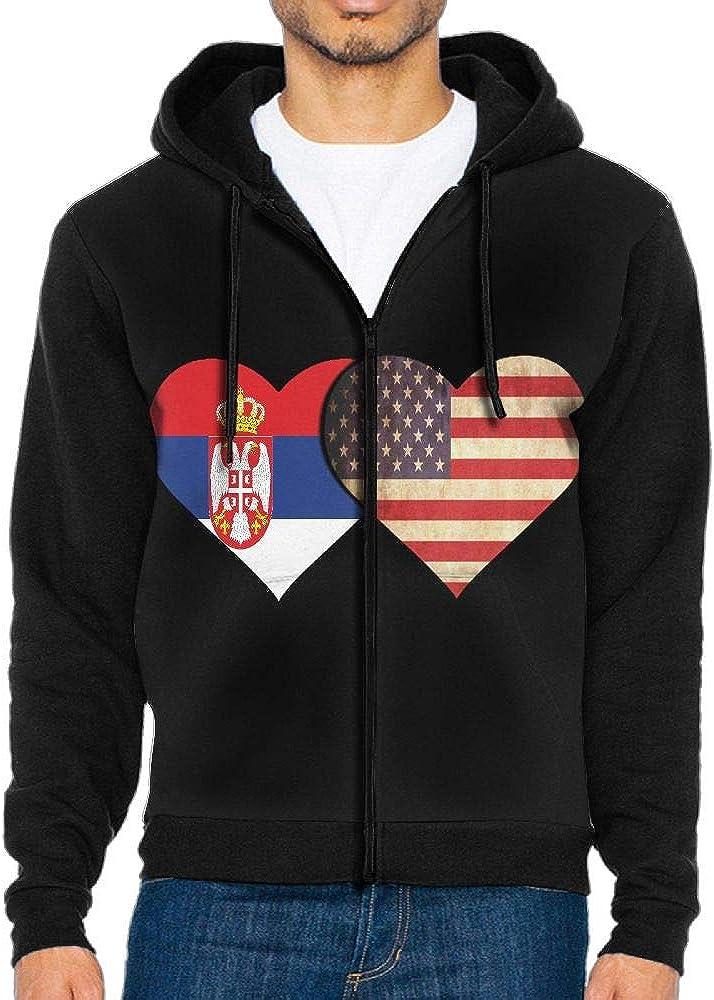 SESY Mens Serbian Flag and American Flag Hoodie Sweatshirt Cool Printed Hooded Pullover Pocket
