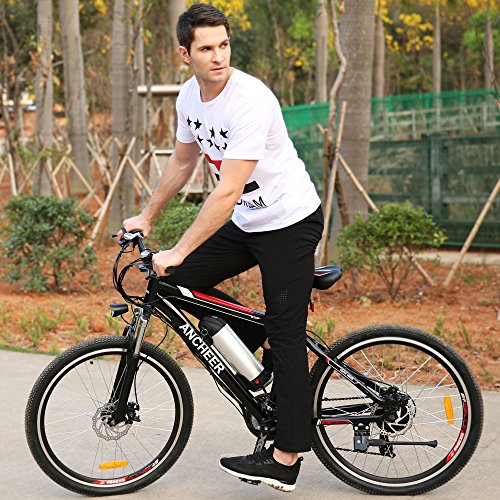 Ancheer Electric Mountain Bike with Removable Lithium Ion Battery, Battery Charger