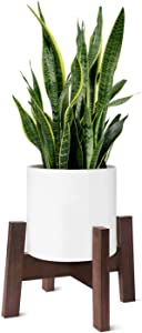 """Flexzion Plant Stand Wood Mid Century Modern Flower Pot Holder Home Decor 10""""/12 in (Planter/Pot Not Included) Unique Wooden Indoor, Yard, Outdoor, Vintage Garden Decor, No Nails & Screws Assembly"""