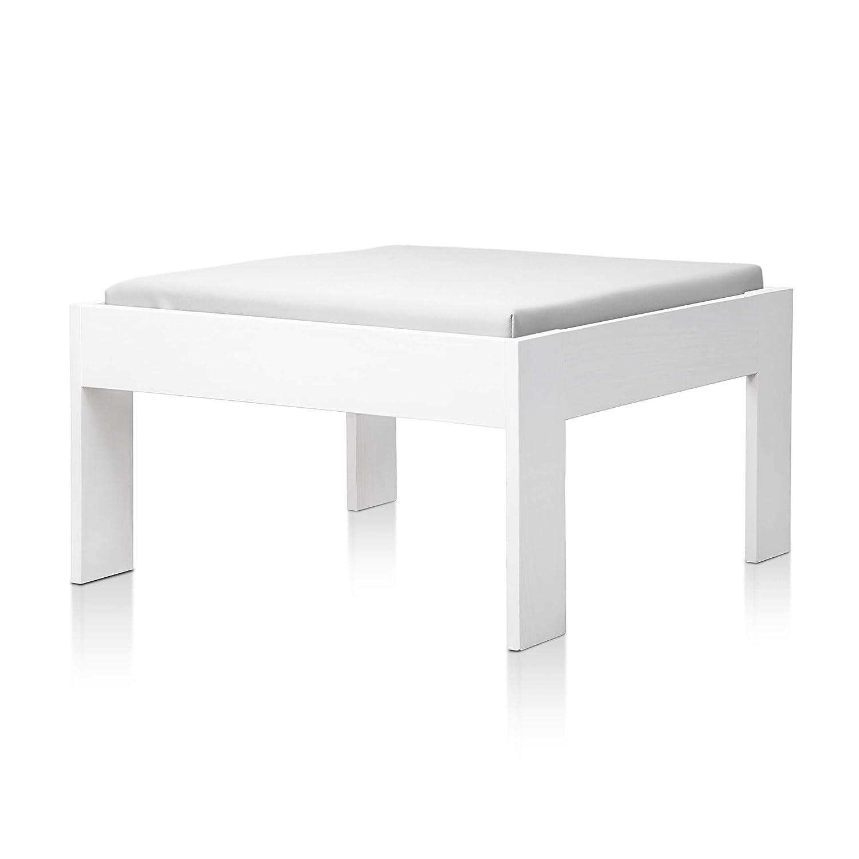 SUENOSZZZ - Sofa Jardin de Madera de Pino Color Blanco, MEDITERRANEO Mod. chaiselonge, Sillon cojín Polipiel Color Blanco. Muebles Jardin Exterior. ...