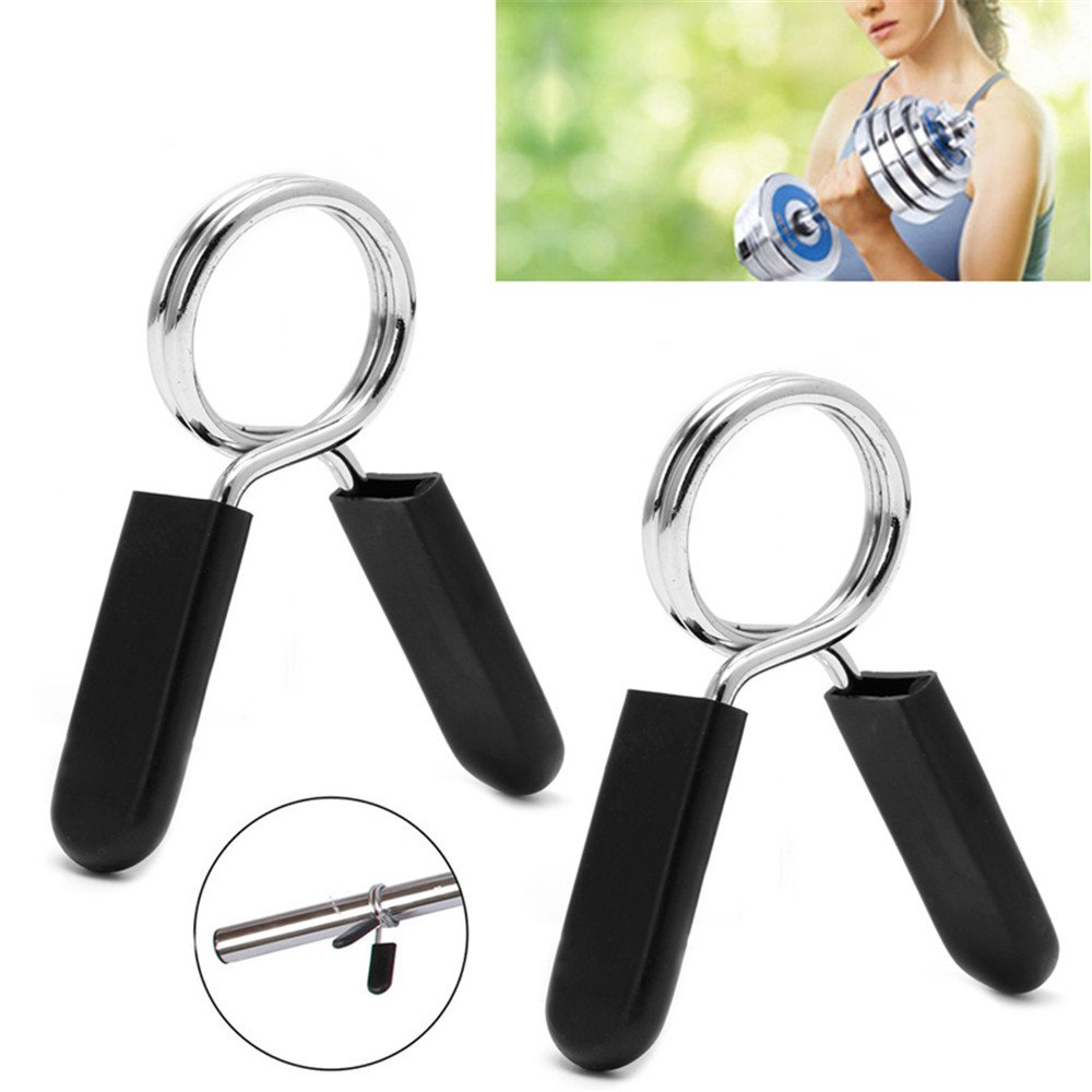 LANYUER Barbell Lock 2Pcs/Set Barbell Gym Weight Lifting Bar Dumbbell Lock Clamp Spring Collar Clips LANYUER International