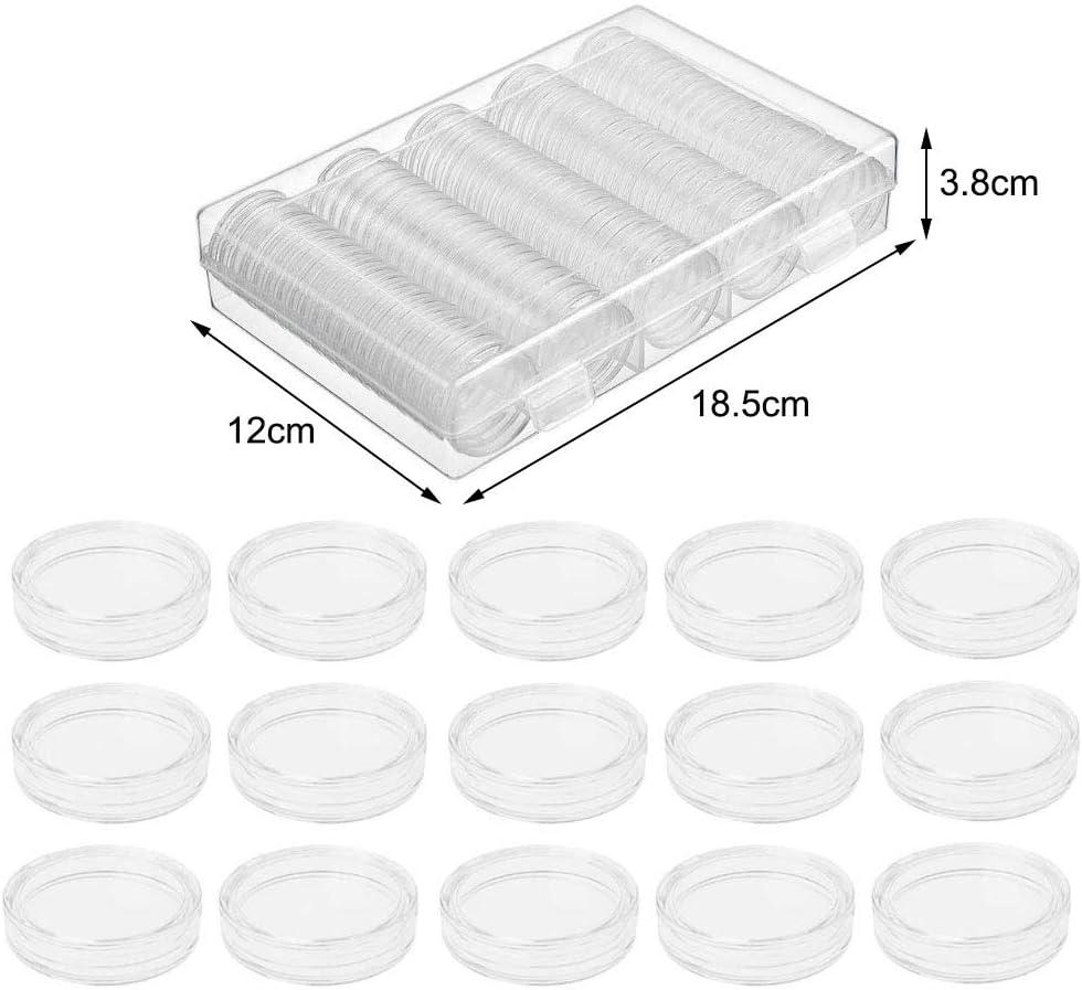 Zasiene Capsule Monete 100 Pezzi 30 mm Plastica Capsule Porta Monete Raccoglitore Monete Trasparente con 100 PCS Guarnizioni in Schiuma per Collezione di Monete